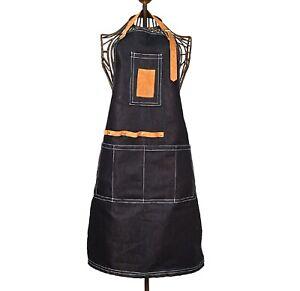 Esschert Design Garten Schürze Denim Leder Lang Werkzeug Taschen Geräte Jeans