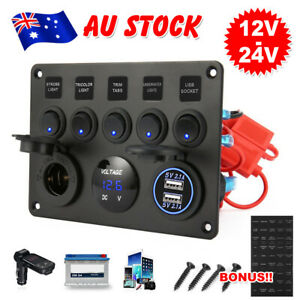 Car Boat 5 Gang 12V Switch Panel ON-OFF Toggle 2 USB for Marine RV Truck Camper
