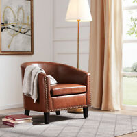 Contemporary Upholstered Arm Barrel Tub Club Accent Chair Furniture, Brown