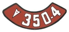 Pontiac 350-4V Air Cleaner Decal, Red & White on Silver