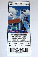 Jimmy Rollins Breaks Phillies Hit Record 6/14/2014 UNUSED MINT Season Ticket