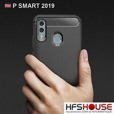 POUR HUAWEI P SMART 2019 COQUE HOUSSE CARBONE NOIR SILICONE GEL HOESJE COVER