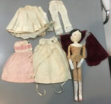 """Antique doll clothes and peg wooden 11.5"""" doll"""