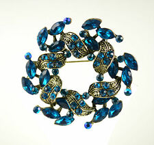 """2""""  ANTIQUE TONE LAUREL LEAF BROOCH WITH  TURQUOISE  RHINESTONE CRYSTALS"""