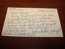 John Aiken 1957 Montreal Canadiens played 1 game Signed Auto 3.X6 Index Card AN