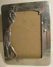 SEAGULL PEWTER PICTURE FRAME 1990 CANADA RETRO DRESSED WOMAN GOLFER TEEING OFF