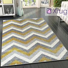 Grey and Mustard Rug Zig Zag Chevron Ochre Yellow Carpet Floor Mats Small Large