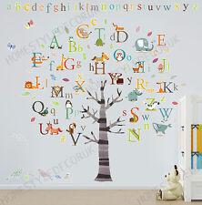 Huge Alphabet Animal Tree Wall Stickers Kids Early Education Nursery Decal Decor