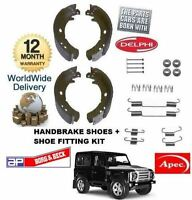 FOR LAND ROVER DEFENDER 1990->ON NEW HAND BRAKE SHOE SET + SHOES FITTING KIT