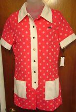 DAVID CRYSTAL FASHION vtg pink diner dress 1960s med sock-hop polka-dots NWT