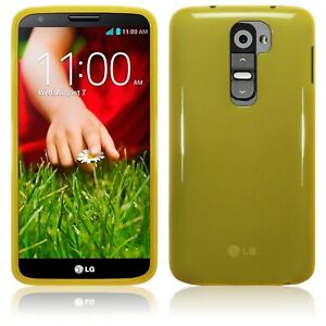 Silicone Slim TPU Gel Back Protector Case Cover Yellow Clear for LG G2