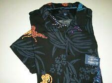 american rag CIE mens tiger cat design rayon knit Hawaiian casual dress shirt-XL