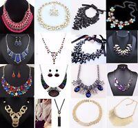 Fashion Jewelry Women Crystal Chunky Bib Choker Chain Pendant Statement Necklace
