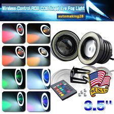 "2x Multi-Color RGB 3.5"" Projector LED Fog Light w/ COB Halo Angel Eyes Rings USA"