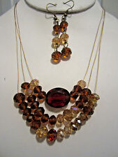 Three Layers Multi Brown Faceted Glass Bead Metal String Necklace Earring