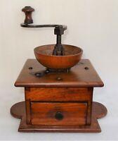 trés beau moulin à café de table 19ème à trémie en bois tourné