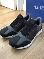 Armani Jeans Mens Retro Antracite Sneakers Training Shoes Uk 8 Eu 42 New