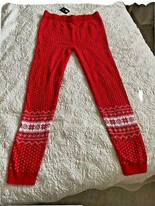 Ladies Christmas Leggings Size 12-14 Red Soft Snowflake Fair Isle Nordic Pattern