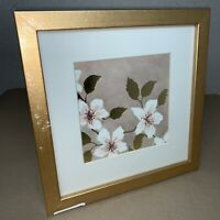 """Gold 25cm Square Photo Frame w/ English Rose Print - 160mm 6.25"""" Picture B229 MZ"""