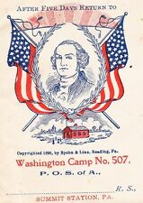 Patriotic Order Sons of America Flag Washington Camp Summit Station PA Cover 6x