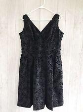 Jones Wear Black Sleeveless dress sz 14 Velvet Roses Floral Excellent!