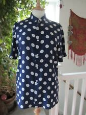"River Island Navy Blue & Grey Spotted Blouse Size S ""Great preloved condition""."