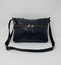 Fossil Pebbled Black Leather Crossbody Purse Adjustable Strap Multiple Pockets