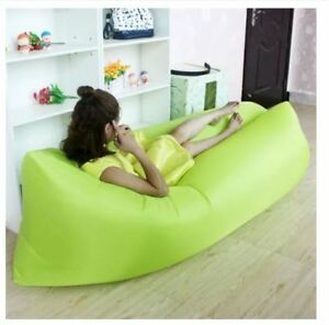 Inflatable Lounger Outdoor Sofa Indoor Inflatable Sleeping Air Bed (Apple Green)