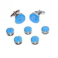 Blue & Silver Masonic Cufflinks with G & Button Studs Mason Christmas Present