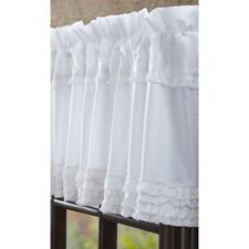 "White Ruffled Sheer Window Valance 100% Cotton Cambric 16"" x 72"""