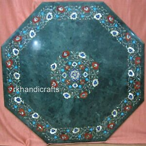 36 Inches Marble Coffee Table Top Handcrafted Restaurant Table with Inlay Art