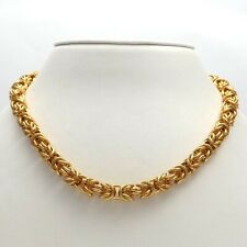 """Gold Vermeil over Stainless Steel SMS 7mm Byzantine Link Chain Necklace 18"""" NEW"""
