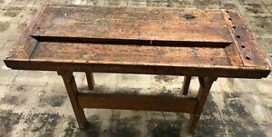 Antique Vintage Wood Industrial Carpenters Workbench Table Kitchen Island
