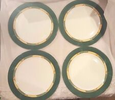"""Lot of Four (4) Luminarc Green Marble Ring w/Gold Pattern Dinner Plates 12-1/2"""""""