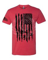 Iron Gods Gun Flag T-Shirt Distressed American Military Weapons US Armed Forces