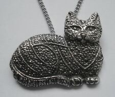 Chain Necklace #1118 Pewter CAT (40mm x 32mm) MARCASITE LOOK
