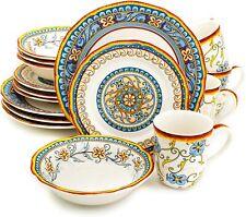 16 Piece Stoneware dinnerware set floral design serve for 4 ,Plates,Bowls,Mugs