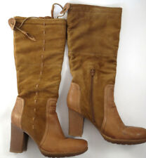 Women's Boots NAYA Norubi Size 10 M Suede and Leather Brown Heels Knee