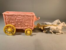 Vtg Toy Plastic Horses & Western Circus Wagon Not Hardy U.S.A. 1950's