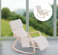 HOMCOM Rocking Chair Recliner Armchair Adjustable Footrest Side Pocket