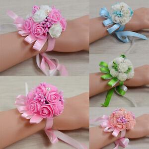 1pc Bridesmaid Artificial Rose Wrist Flower Bracelet Pearl Corsage Wedding Party