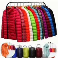 Women's Packable Down Jacket Hoodie Puffer Stand Collar Ultralight Coat Winter