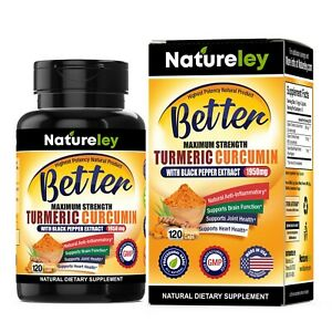 Organic Turmeric Curcumin 1950mg with Black Pepper Extract Supplements -120 Caps