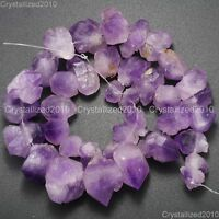 Natural Amethyst Gemstone Large Rough Baroque Nugget Loose 8mm - 25mm Beads 15""