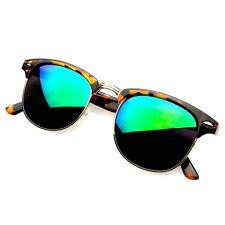Retro Fashion Half Frame Flash Mirror Lens Sunglasses Mirrored Shades