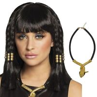 Ladies Egyptian God Cleopatra Wig with Golden Serpent Snake Necklace Costume Kit