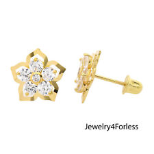 14k Yellow Gold Clear Cubic Zirconia Flower Screw-back Stud Earrings