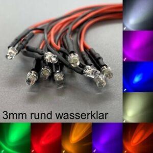 verkabelt 3mm LEDs rund wasserklar alle Farben 3 mm LED Widerstände