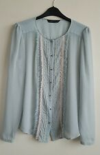 ZARA LADIES STEAMPUNK SHEER BLOUSE TOP WITH SKULL BUTTONS SIZE S HARDLY WORN