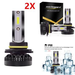 2x Unique 9012 HIR2 LED Headlight Bulb High/Low Beam Kit 6000K COB REE Flip Chip